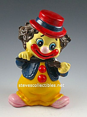 1970s Colorful CLOWN Hard Vinyl Toy BANK (Image1)
