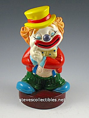 1970s Colorful CLOWN Hard Vinyl Toy BANK 2 (Image1)