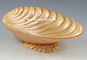 1950s Way Cool PLASTIC CLAM SHELL Hinged Vanity Box (Image1)