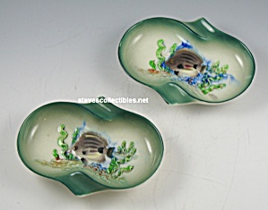 Gorgeous RAISED FISH UNDERSEA SCENE Ashtrays UNUSUAL (Image1)