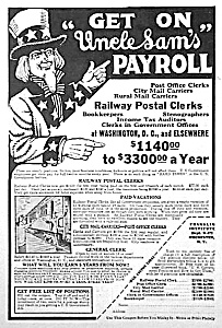 1927 RAILWAY POSTAL CLERK Ad - UNCLE SAM (Image1)