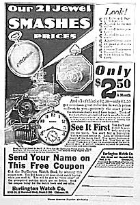 1917 BURLINGTON POCKET WATCH Ad (Image1)