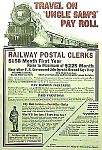 1928 RAILWAY POSTAL CLERK Railroad Ad (Image1)