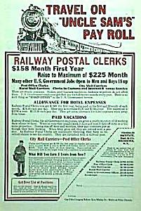 1927 RAILWAY - Railroad POSTAL CLERK Ad (Image1)