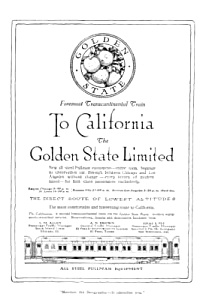 1913 GOLDEN STATE LIMITED Pullman Train Railroad Ad (Image1)