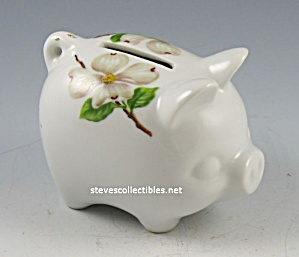 Vintage Hand-painted Dogwood PIGGY BANK (Image1)