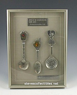 Framed Seoul Korea 1988 Olympic Commemorative Spoon Set