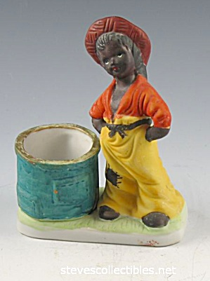 Black Americana Boy And Barrel Match Or Toothpick Holder