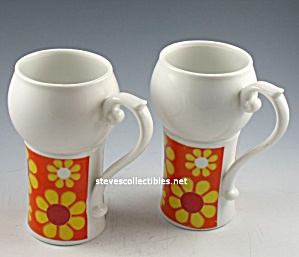 PAIR OF FLOWER POWER Tall Coffee Mugs - MUST SEE (Image1)