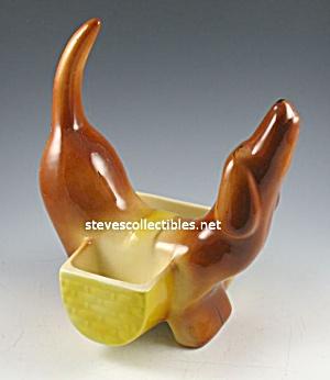 Kitsch 1950s DACHSHUND Pottery DRESSER CADDY (Image1)