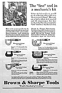 1930 BROWN & SHARPE Tool Ad/MICROMETERS (Image1)