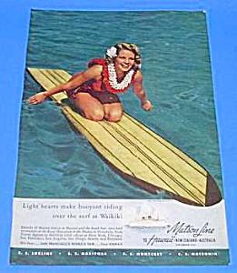 1939 SURFBOARD - Matson Ocean Liner - HAWAII Ad (Image1)