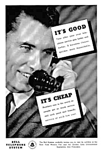 1939 BELL TELEPHONE Old Phone Handset Ad (Image1)
