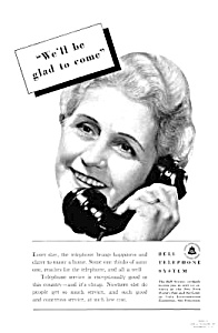 1939 Bell Telephone Old Phone Handset Ad