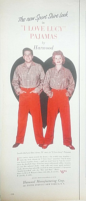 1953 I Love Lucy Pajama Ad - Color
