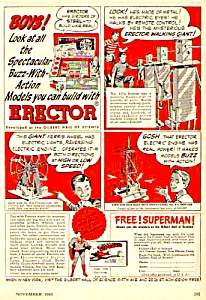 1948 GILBERT ERECTOR SET Toy - SUPERMAN Book Ad (Image1)