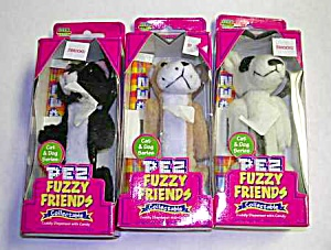 Set Of 3 Fuzzy Friends Collectible Pez Mib By Dakin
