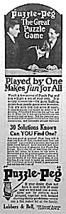 1922 Puzzle Peg Game Mag. Ad