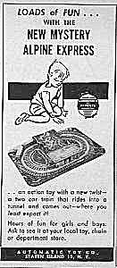 1949 Tin Alpine Express Toy Magazine Ad