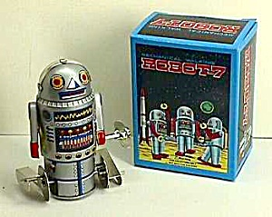 Collectible Tin Robot-7 Windup Toy Mib L@@k