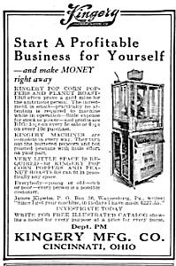 1923 KINGERY POP CORN MACHINE Vending Mag. Ad (Image1)
