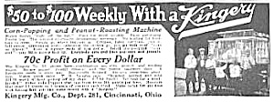 1921 KINGERY Popcorn/Peanut Vending Ad (Image1)