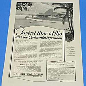 1922 BRAZILIAN CENTENNIAL EXPO - Ocean Liner Ad (Image1)