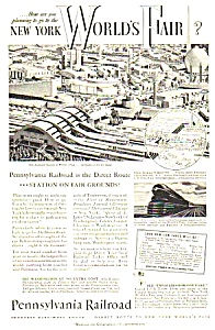 1939 Penn Railroad Ny Worlds Fair Magazine Ad