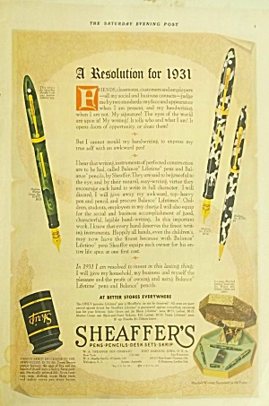 Great 1931 Green Marble Fountain Pen Sheaffer Color Ad