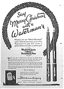 1924 WATERMAN FOUNTAIN PEN Santa Xmas Ad (Image1)