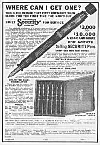 1924 Security FOUNTAIN PEN Corp. Ad (Image1)