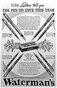 1934 Waterman Fountain Pen Xmas Ad