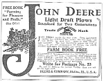 1911 JOHN DEERE Light Draft Plow Ad