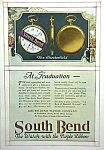 Click here to enlarge image and see more about item AD0527C9: RARE 1918 Color  SOUTHBEND POCKET WATCH Ad