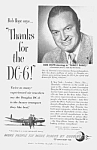 Click here to enlarge image and see more about item AD0610Z: Nice 1950 BOB HOPE Douglas DC-6 Ad