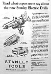 1928 STANLEY POWER DRILLS Tool Ad