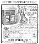 Click here to enlarge image and see more about item AD0628C2: Cool 1901 MONROE REFRIGERATOR Mag. Ad