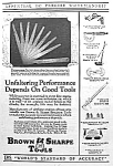Click here to enlarge image and see more about item AD0728C9: 1928 BROWN & SHARPE Tool Ad L@@K!