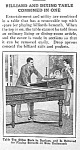Click here to enlarge image and see more about item AD0804A6: 1929 BILLIARD/DINING TABLE Mag. Article