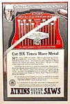 Click here to enlarge image and see more about item AD0828C7: 1927 ATKINS SILVER STEEL Saw - Tool Ad