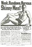Click here to enlarge image and see more about item AD0903M4: 1936 DON'T BE SKINNY Magic Muscle Cure Ad