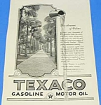 Click here to enlarge image and see more about item AD1002AA2: 1924 Art Deco TEXACO/Avenue of the Palms Ad