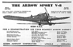 Click here to enlarge image and see more about item AD1004A1: Cool  1937 ARROW SPORT Aircraft Airplane Ad