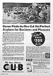Click here to enlarge image and see more about item AD1004B3: NICE 1937 TAYLOR SILVER CUB Aviation Ad