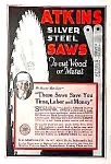 Click here to enlarge image and see more about item AD1021A1: 1927 ATKINS SILVER STEEL SAWS - Tool Ad
