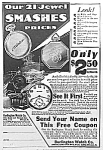 Click here to enlarge image and see more about item AD1025B7: 1918 Burlington RAILROAD POCKET WATCH Ad