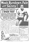 Click here to enlarge image and see more about item AD1103A8: 1937 DON'T BE SKINNY Magic Muscle Cure Ad