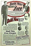 Click here to enlarge image and see more about item AD1212A9: 1929 QUACK BALDNESS CURE Magazine Ad L@@K!