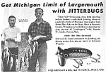 Click here to enlarge image and see more about item AD1223A4: 1946 Fred Arbogast JITTERBUG FISHING LURE Ad