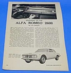 Click here to enlarge image and see more about item AU0105A2: 1963 ALFA ROMEO 2600 AUTO Magazine Article
